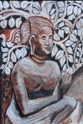 Oils Originals - SEATED WOMEN in Javanse manner by Anand Swaroop Manchiraju