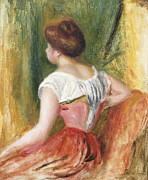 Green Walls Framed Prints - Seated Young Woman Framed Print by Pierre Auguste Renoir