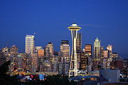 Famous Posters - Seattle at Dusk Poster by Adam Romanowicz