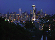 Seattle Skyline Paintings - Seattle at Night by Edward Coumou