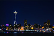 Alki Beach Framed Prints - Seattle at Night Framed Print by Rich Leighton