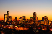 Tilt Shift Posters - Seattle At Sunset With Tilt-shift Poster by Erik T Witsoe