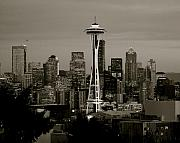 Urban Buildings Framed Prints - Seattle Black and White Framed Print by Sonja Anderson