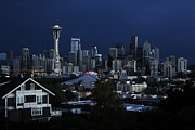 Seattle Skyline Framed Prints - Seattle Blues Framed Print by Benjamin Yeager