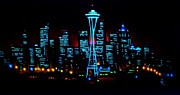 City Skylines Paintings - Seattle by black light by Thomas Kolendra