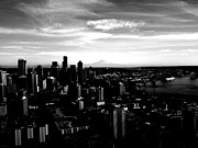 Birdseye Acrylic Prints - Seattle Cityscape Black and White Acrylic Print by J Von Ryan
