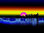 Seattle Digital Art Metal Prints - Seattle Dawning Metal Print by Tim Allen