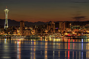 Waterfront Posters - Seattle Downtown Skyline From Alki Beach Dawn Poster by David Gn Photography