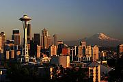 Sunset Photo Prints - Seattle Equinox Print by Winston Rockwell
