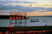 Seattle Ferry At Dusk Print by Ed Rooney