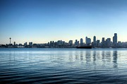 Alki Beach Framed Prints - Seattle from Alki Beach Framed Print by Spencer McDonald