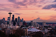 Mt. Rainier Photos - Seattle In Pink by Aaron Eakin