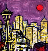 Seattle Skyline Paintings - Seattle by Karl Haglund