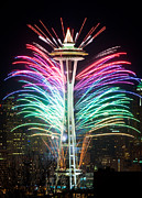 Seattle Skyline Posters - Seattle New Year Poster by Inge Johnsson