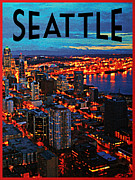 Seattle Skyline Art - Seattle Night Skyline by Vintage Poster Designs