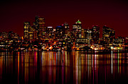 Seattle Waterfront Posters - Seattle Nightscape Poster by Rich Leighton