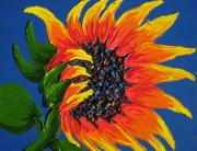 Wineries Painting Prints - Seattle Orange Sunflower Print by James Dunbar