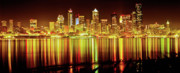Seattle Skyline Art - Seattle Panorama Reflection in Elliot Bay by Tim Rayburn