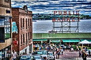 Puget Sound Framed Prints - Seattle Public Market II Framed Print by Spencer McDonald