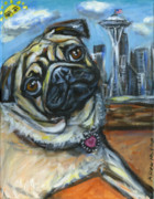 Fawn Pug Paintings - Seattle Pug waiting for the sun by Angie  Ketelhut