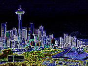 Seattle Digital Art Framed Prints - Seattle Quintessence Framed Print by Tim Allen