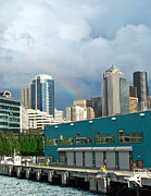 Seattle Waterfront Photos - Seattle Rainbow by Julie Magers Soulen