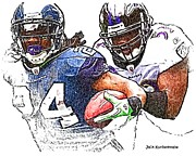Seahawks Posters - Seattle Seahawks Marshawn Lynch  -  Baltimore Ravens Jameel McClain Poster by Jack Kurzenknabe