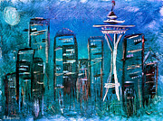 Northwest Mixed Media - Seattle Skyline 2 by Melisa Meyers