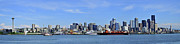 Seattle Waterfront Framed Prints Prints - Seattle skyline from Puget sound Print by Angelito De Jesus