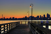 Railing Acrylic Prints - Seattle Skyline From The Alki Beach Seacrest Park Acrylic Print by David Gn Photography