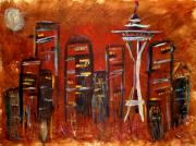 Seattle Painting Framed Prints - Seattle Skyline Framed Print by Melisa Meyers