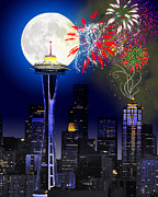 Moon Digital Art Framed Prints - Seattle Skyline Framed Print by Methune Hively