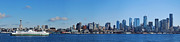 Ferry Photos - Seattle Skyline Panorama by Twenty Two North Gallery