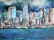 Seattle Skyline Paintings - Seattle Skyline by Richard Jules