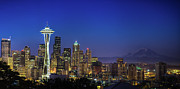 Exterior Photo Framed Prints - Seattle Skyline Framed Print by Sebastian Schlueter (sibbiblue)