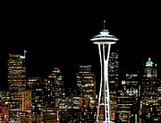 Space Needle Framed Prints - Seattle Skyline With Space Needle Framed Print by Tim Ford