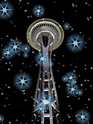 Seattle Greeting Cards Posters - Seattle Space Needle Blue Stars Poster by Chalet Roome-Rigdon
