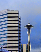 Seattle Greeting Cards Posters - Seattle Space Needle Poster by Ron Roberts