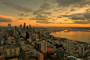 Seattle Skyline Art - Seattle Sunset by Dan Mihai