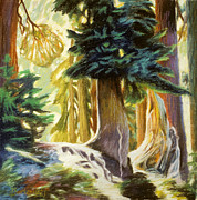 Forest Pastels Originals - Seattle Trees by Gina Blickenstaff
