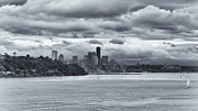Seahawks Posters - Seattle WA Cityscape From Puget Sound Poster by Sharon Norman