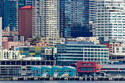 Seattle Waterfront Prints - SEATTLE WATERFRONT piers and condos in downtown Seattle WA Print by Andy Smy