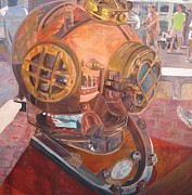 Handicapped Paintings - SeaWorld Copper Diving Helmet by Susan  McNeil
