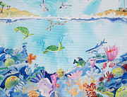 Sea Turtles Painting Originals - Sebastian Inlet  by Renate Pampel