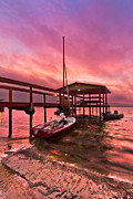 Purple Sea Print Prints - Sebring Sailing Print by Debra and Dave Vanderlaan