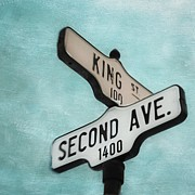 Road Sign Prints - second Avenue 1400 Print by Priska Wettstein