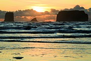 Olympic Peninsula Posters - Second Beach Sunset Poster by Adam Jewell