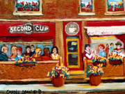 Resto Bars Paintings - Second Cup Coffee Shop by Carole Spandau