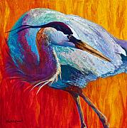 Fishing Painting Posters - Second Glance - Great Blue Heron Poster by Marion Rose