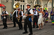 Kathleen K Parker Metal Prints - Second Line Wedding on Bourbon Street New Orleans Metal Print by Kathleen K Parker